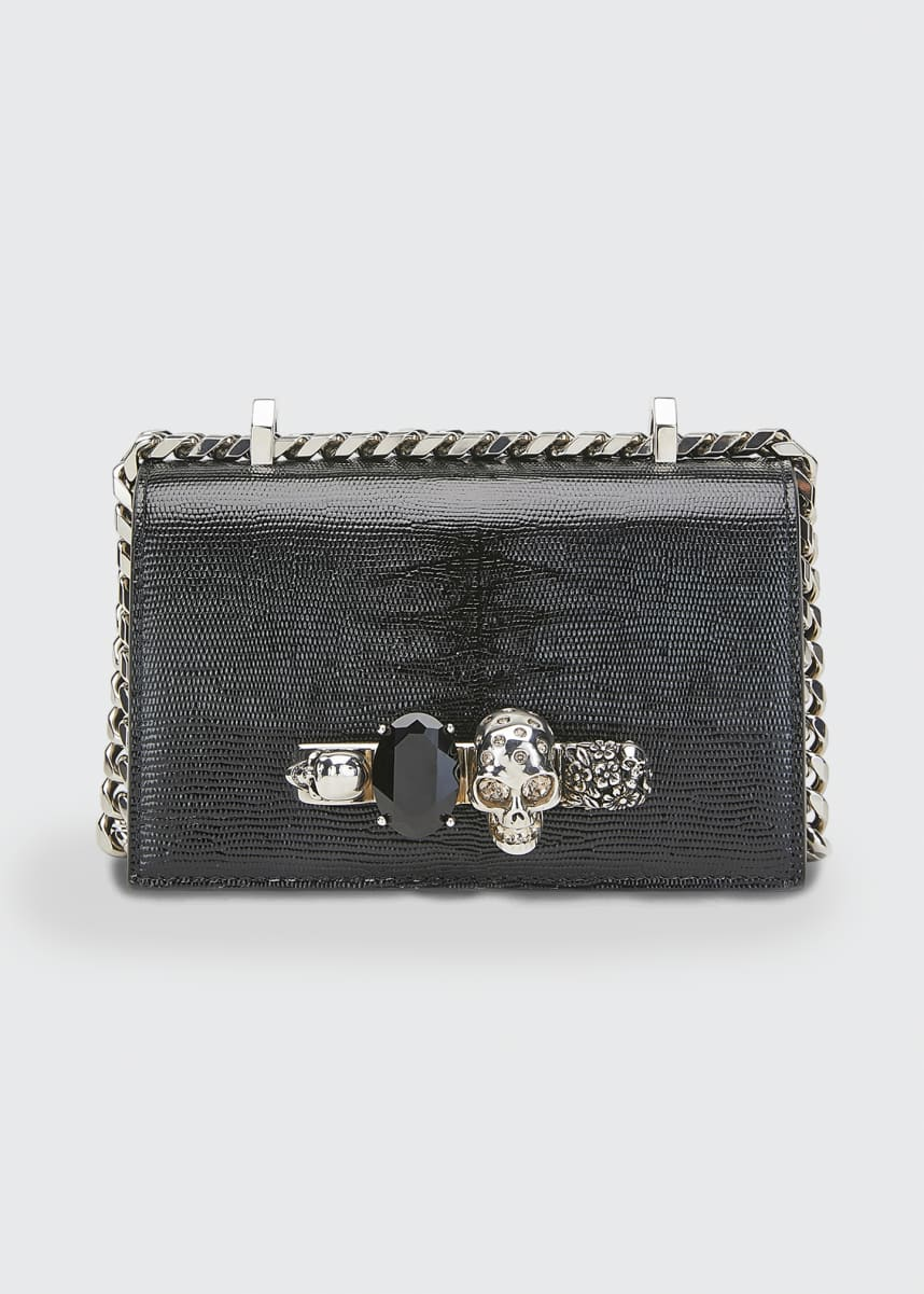 Alexander McQueen Skull Jeweled Snake-Print Satchel Bag