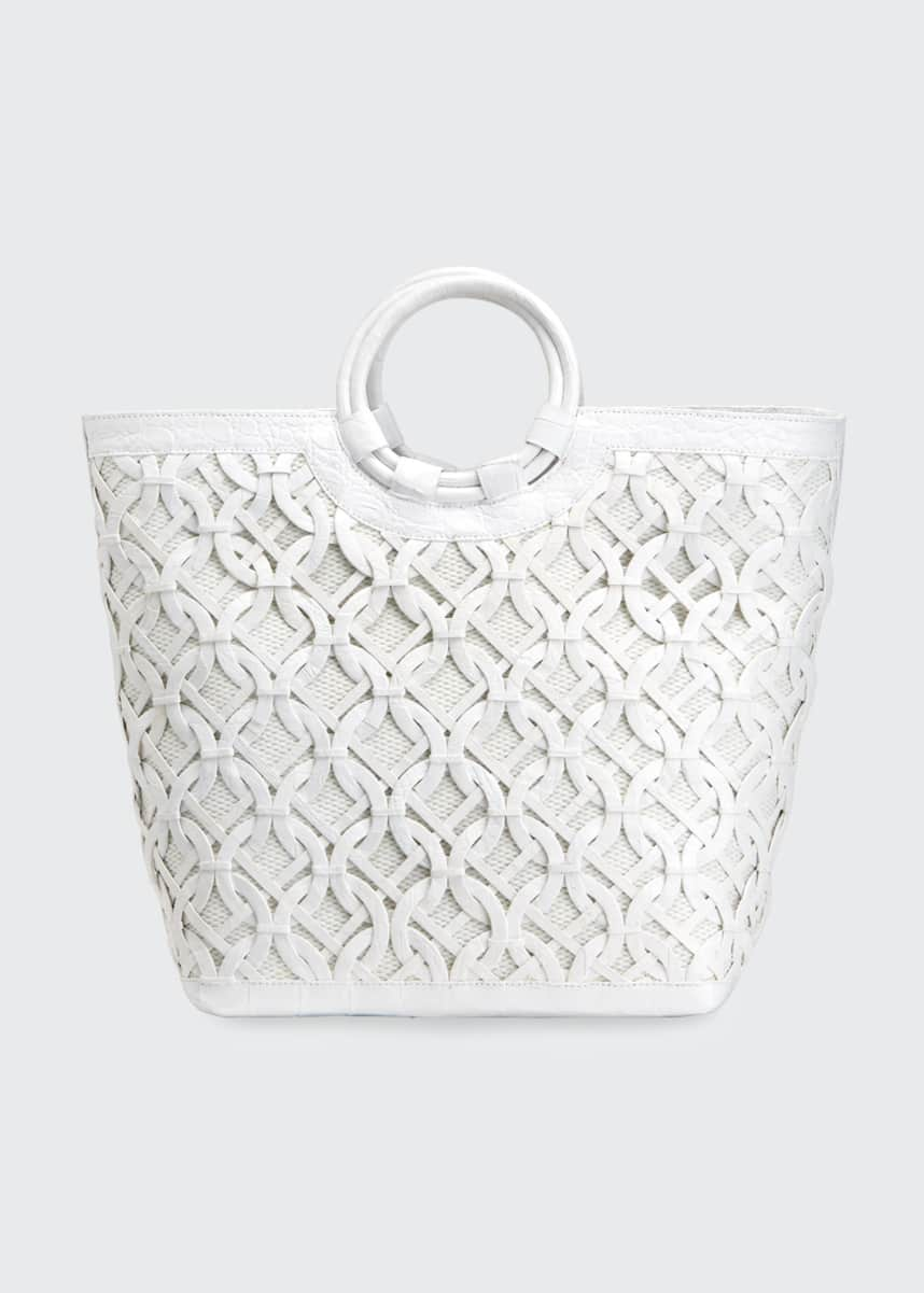Nancy Gonzalez Medium Circle Weave Basket Bag