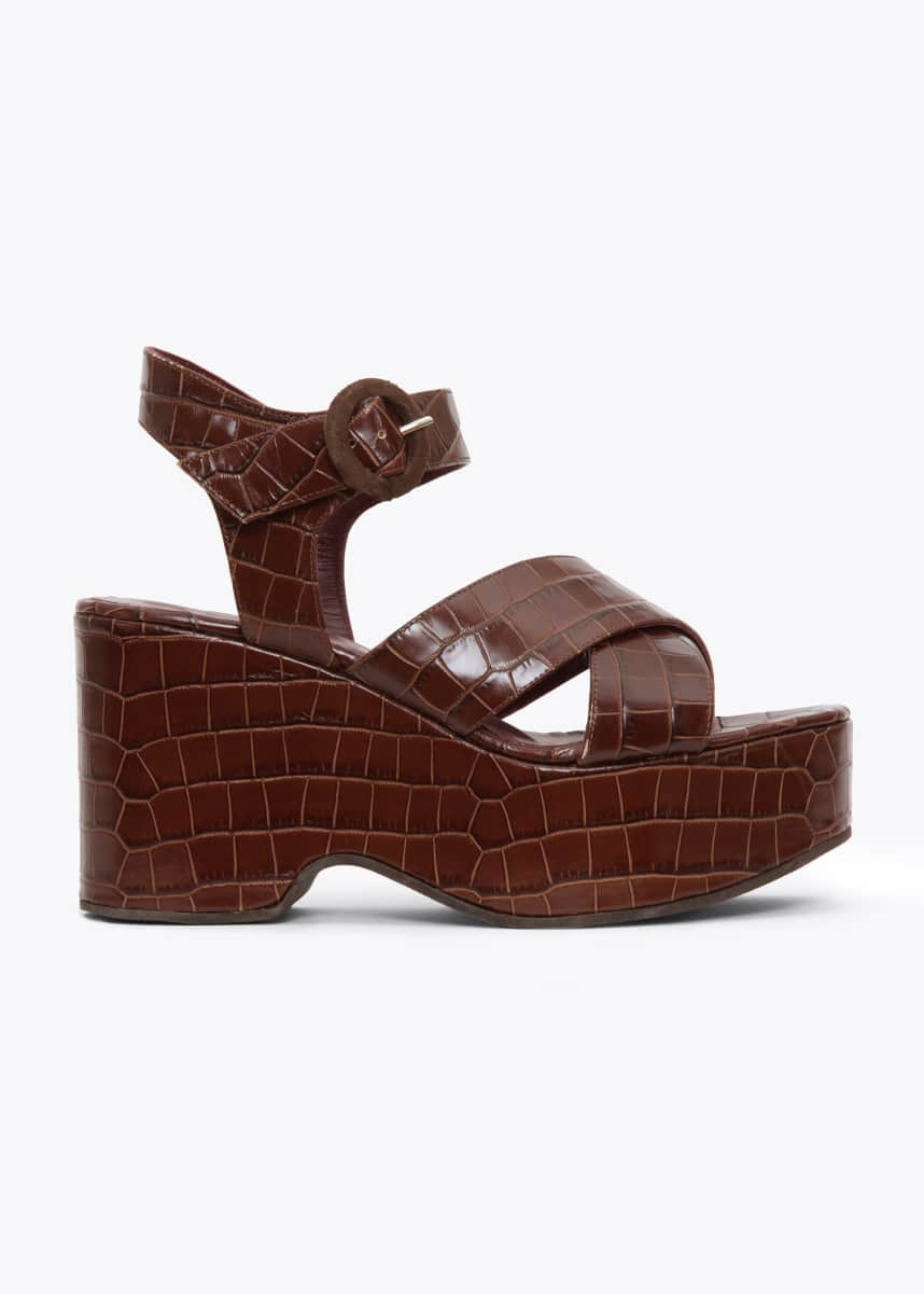 Staud 95mm Wedge Sandals With Ankle Strap