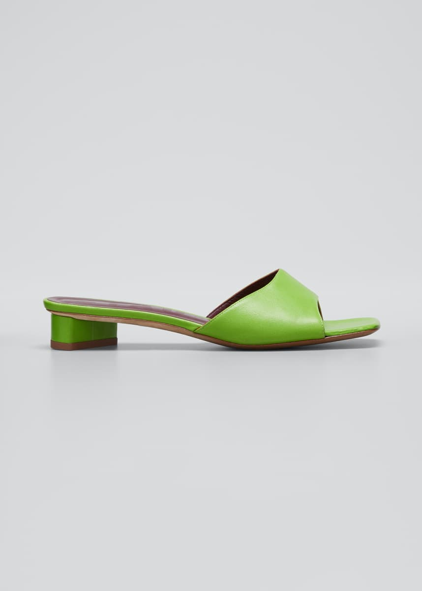 Staud 25mm Asymmetric-Heel Leather Slide Sandals