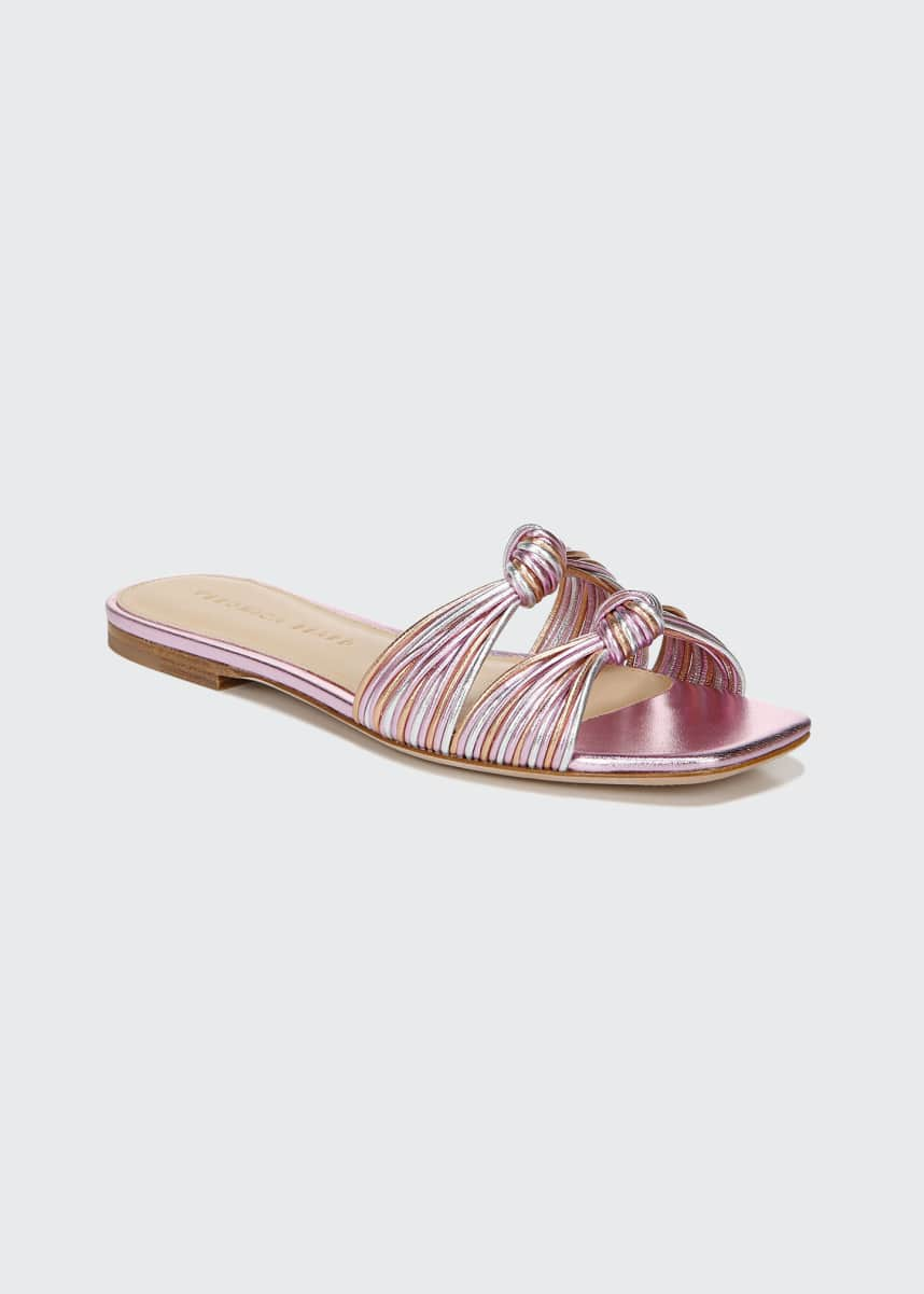 Veronica Beard Gemma Metallic Knotted Flat Slide Sandals