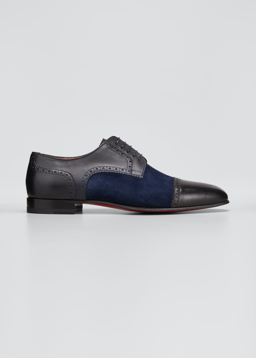 Christian Louboutin Men's Eygeny Brogue Leather/Suede Derby Shoes