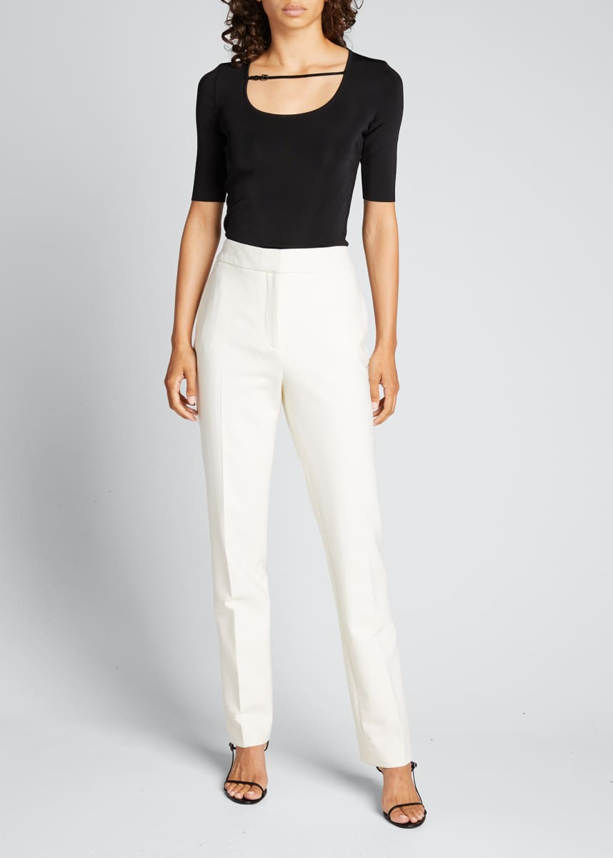Gucci Fine Viscose Short-Sleeve Top with Leather Strap