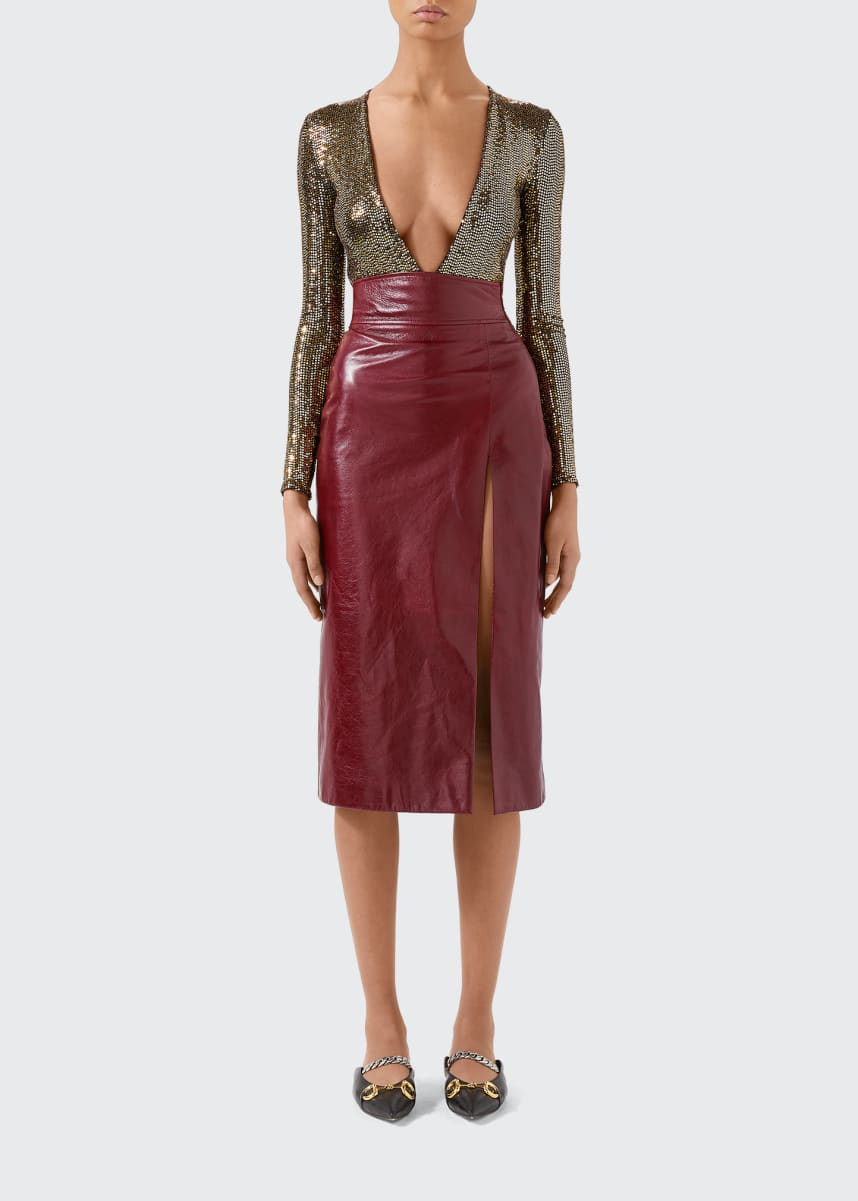 Gucci Metallic Jersey Deep V-neck Bodysuit