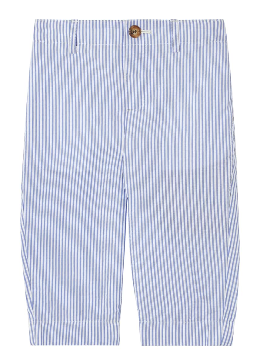 Burberry Boy's Manuel Striped Seersucker Pants, Size 12M-2