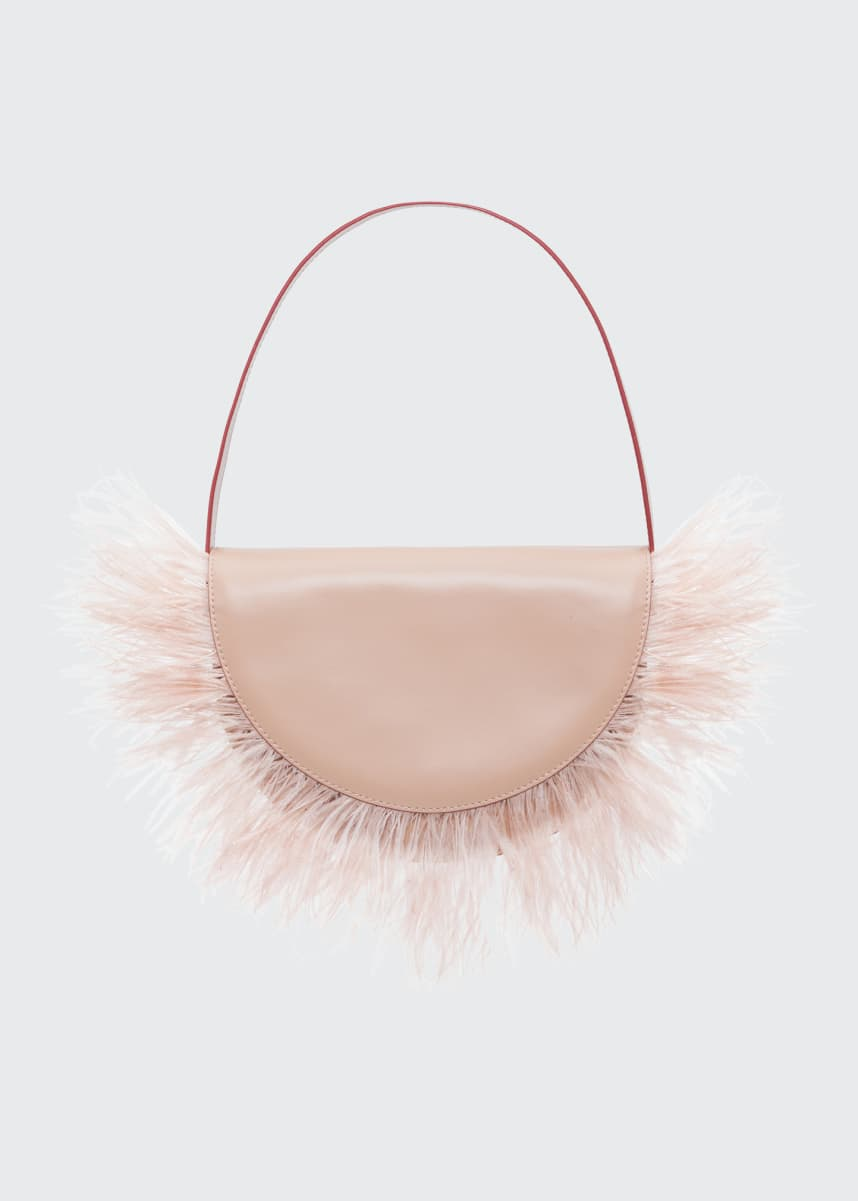 Staud Amal Ostrich Feathered Leather Shoulder Bag