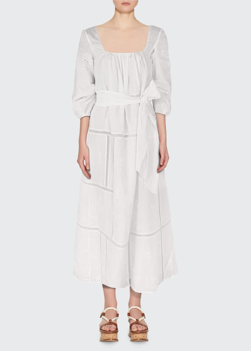 Gabriela Hearst Daphine Insect-Embroidered Linen Dress