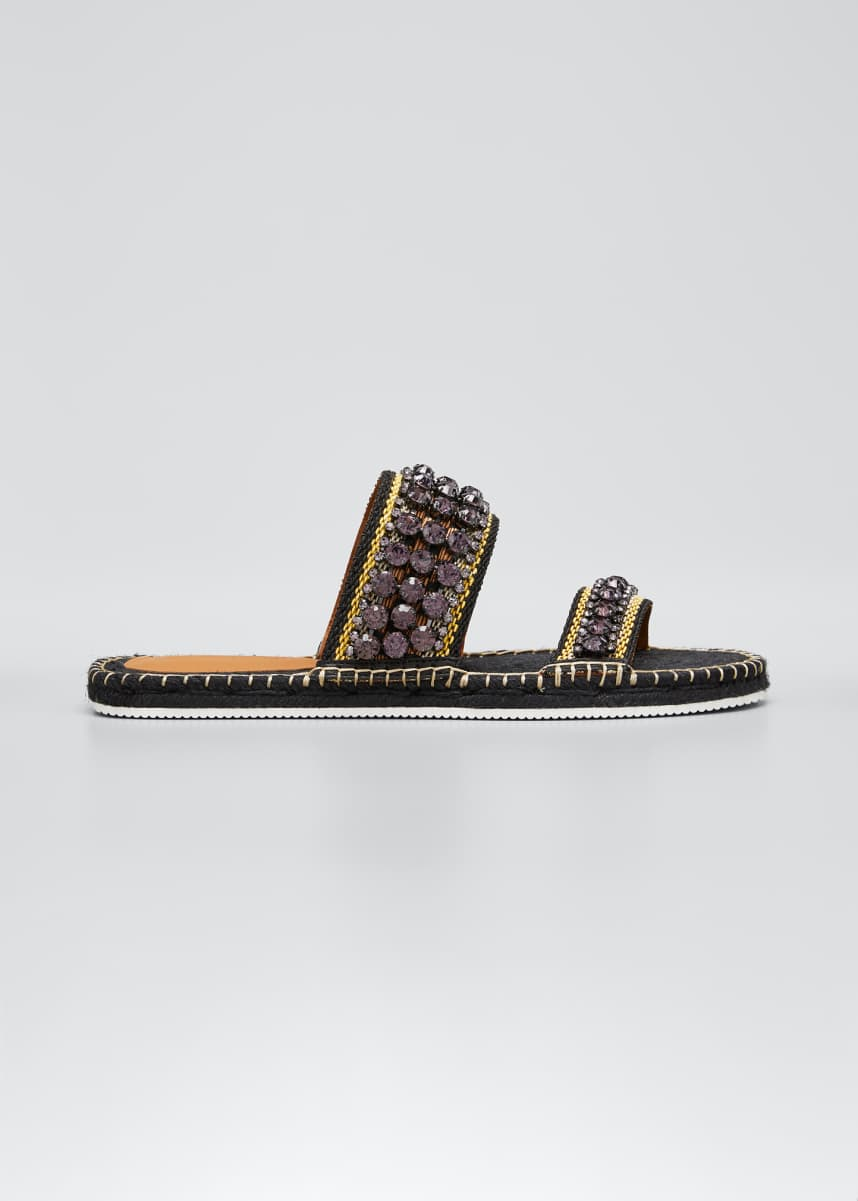 See by Chloe Embellished Two-Band Espadrille Slide Sandals