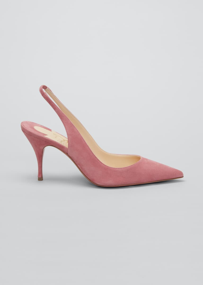 Christian Louboutin 80mm Clare Suede Red Sole Slingback Pumps