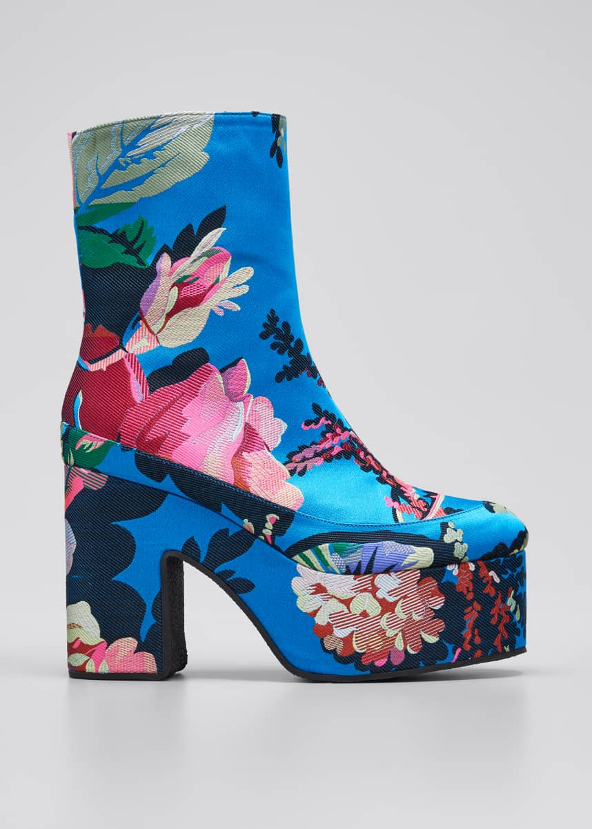 Dries Van Noten 65mm Platform Flower-Print Fabric Booties