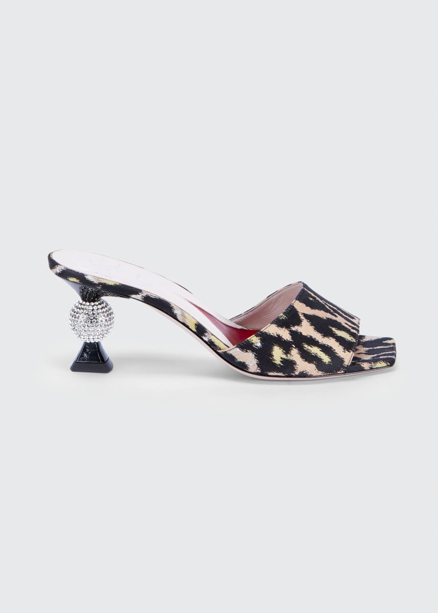 Roger Vivier Leopard Mule Sandals with 65mm Crystal Heel