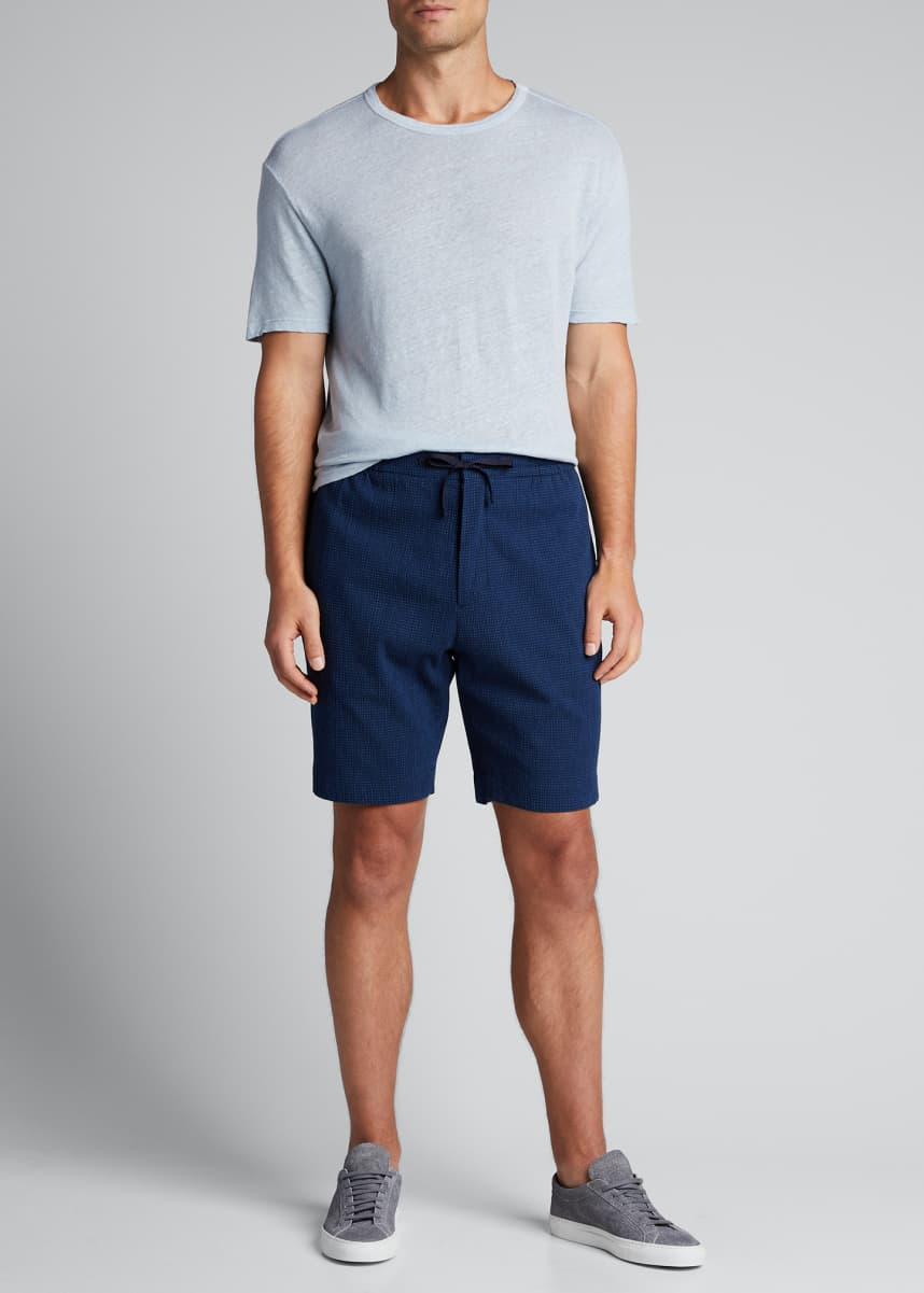 Officine Generale Men's Seersucker Drawstring Shorts
