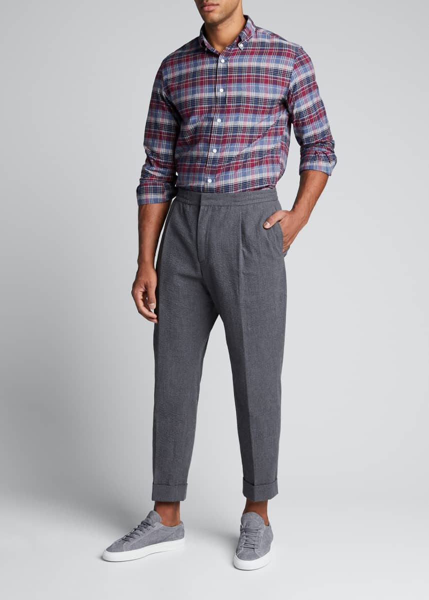 Officine Generale Men's Pleated Seersucker Trousers