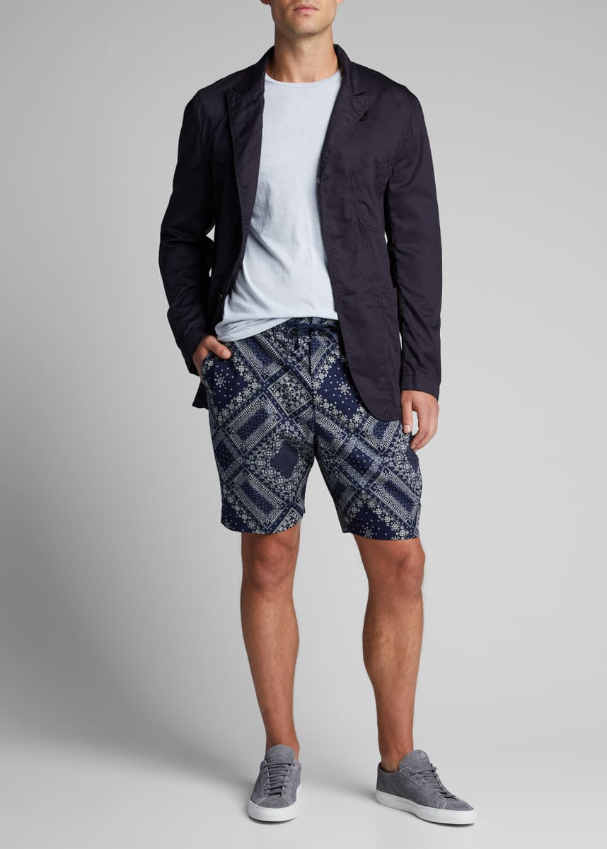 Officine Generale Men's Bandana-Print Drawstring Shorts