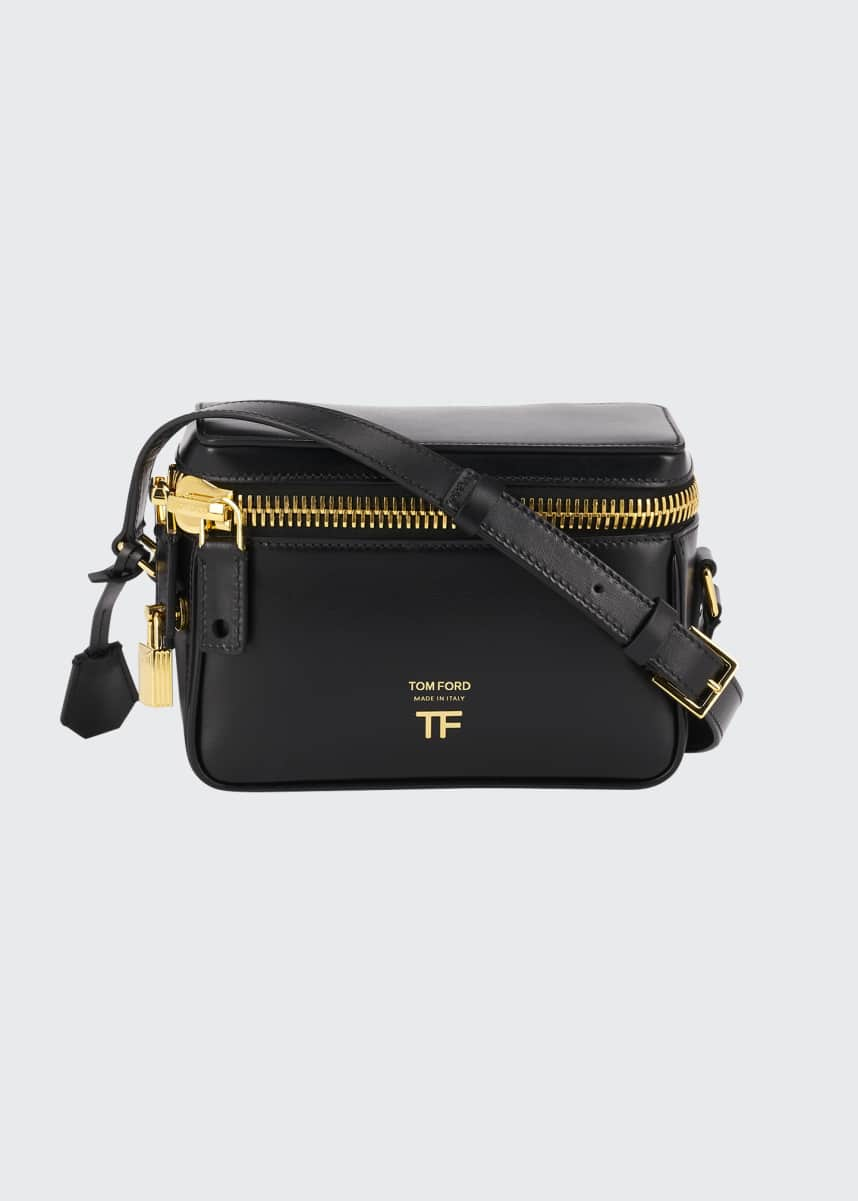 TOM FORD Metro Small Soft Leather Box Shoulder Bag with Silver Hardware