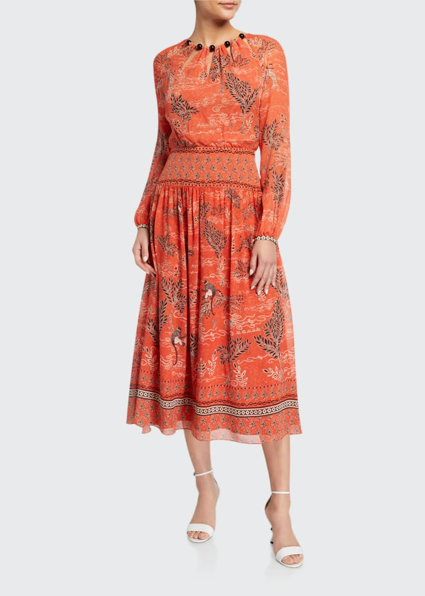 Saloni Thala Long-Sleeve Printed Dress w/ Beaded Neckline
