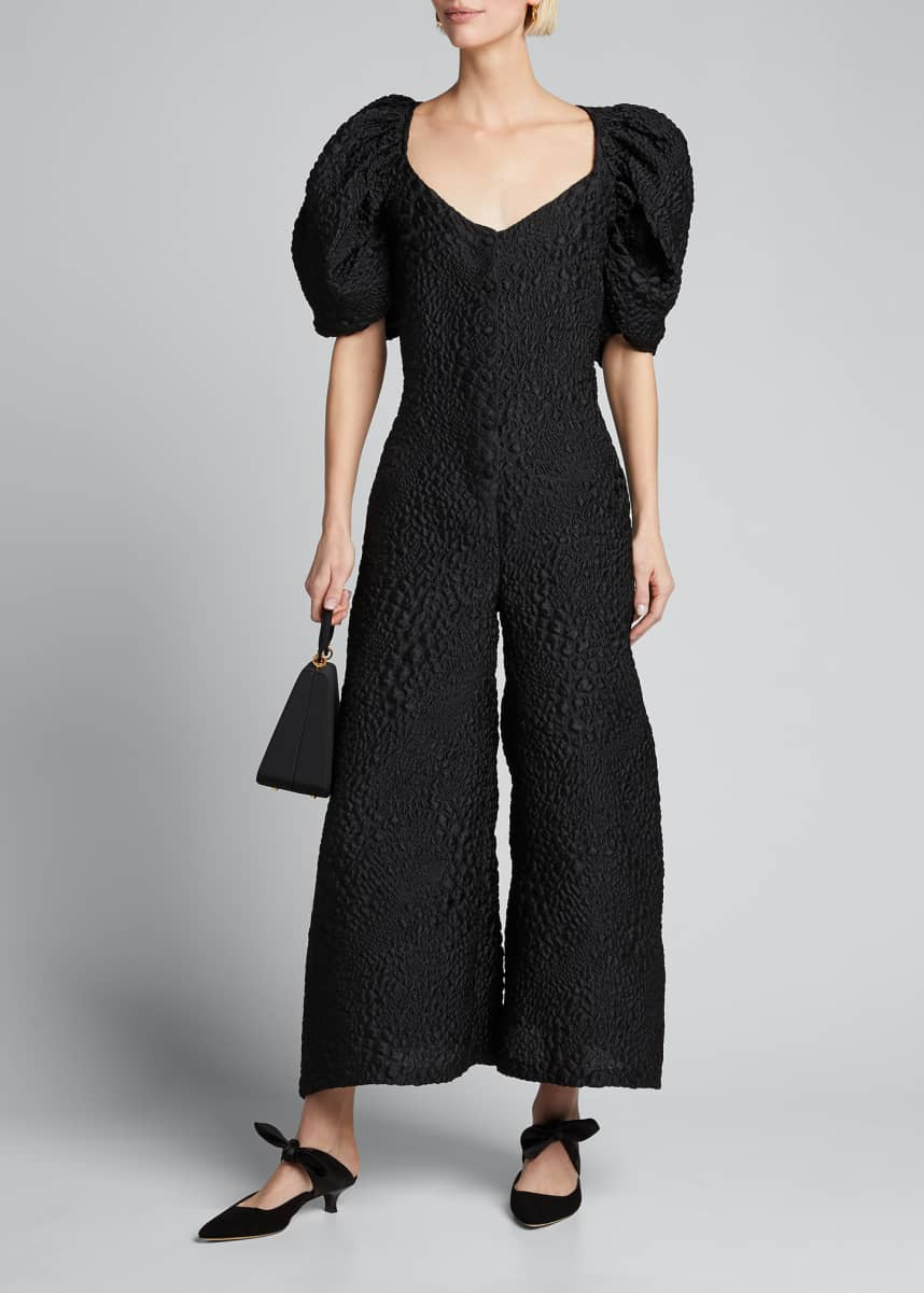 Kika Vargas Puff-Sleeve V-Neck Jumpsuit