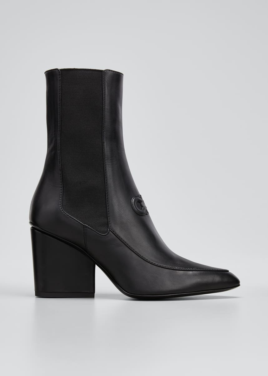 Salvatore Ferragamo Marineo Gancini Leather Block-Heel Booties