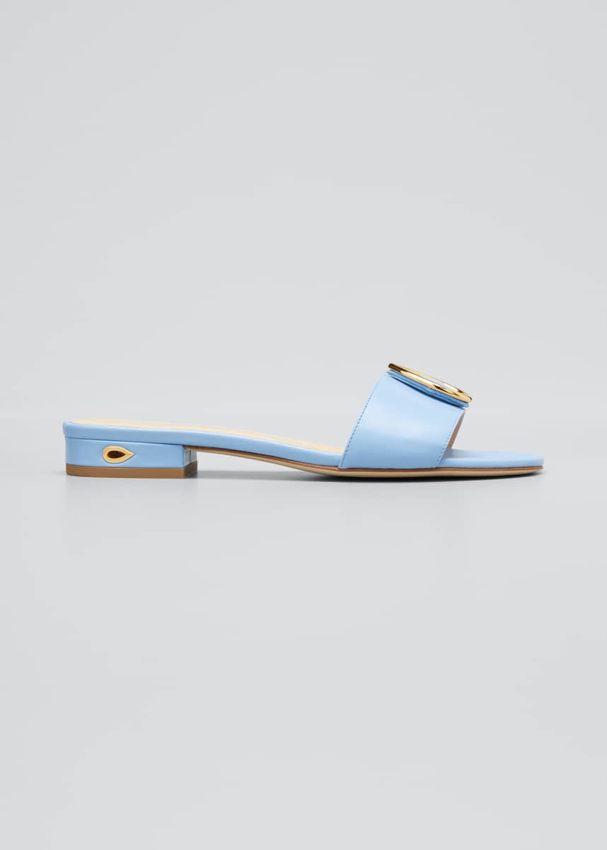 Jennifer Chamandi Andrea Flat Leather Slide Sandals with Teardrop Buckle