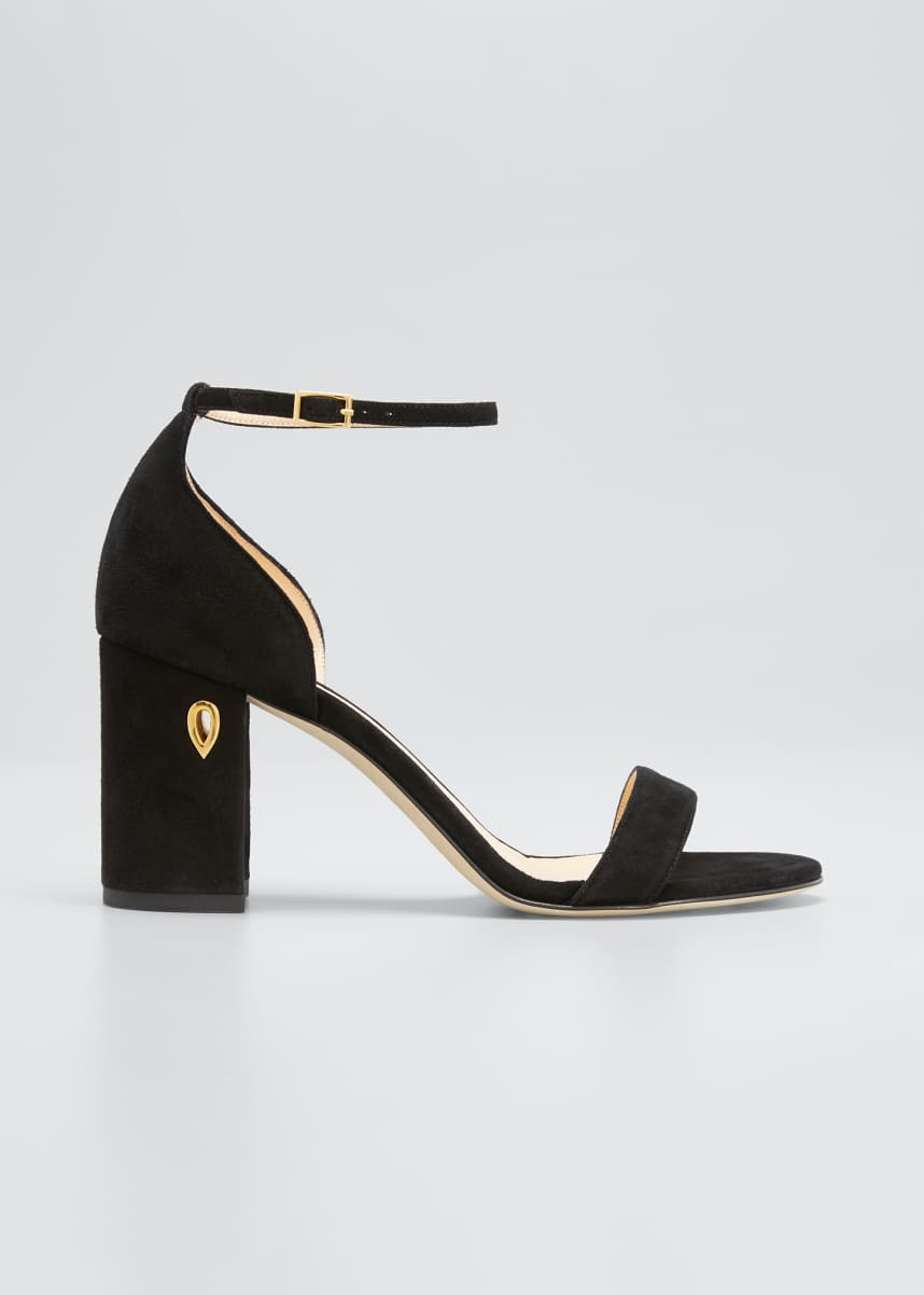 Jennifer Chamandi Massimo 85mm Suede Block-Heel Sandals