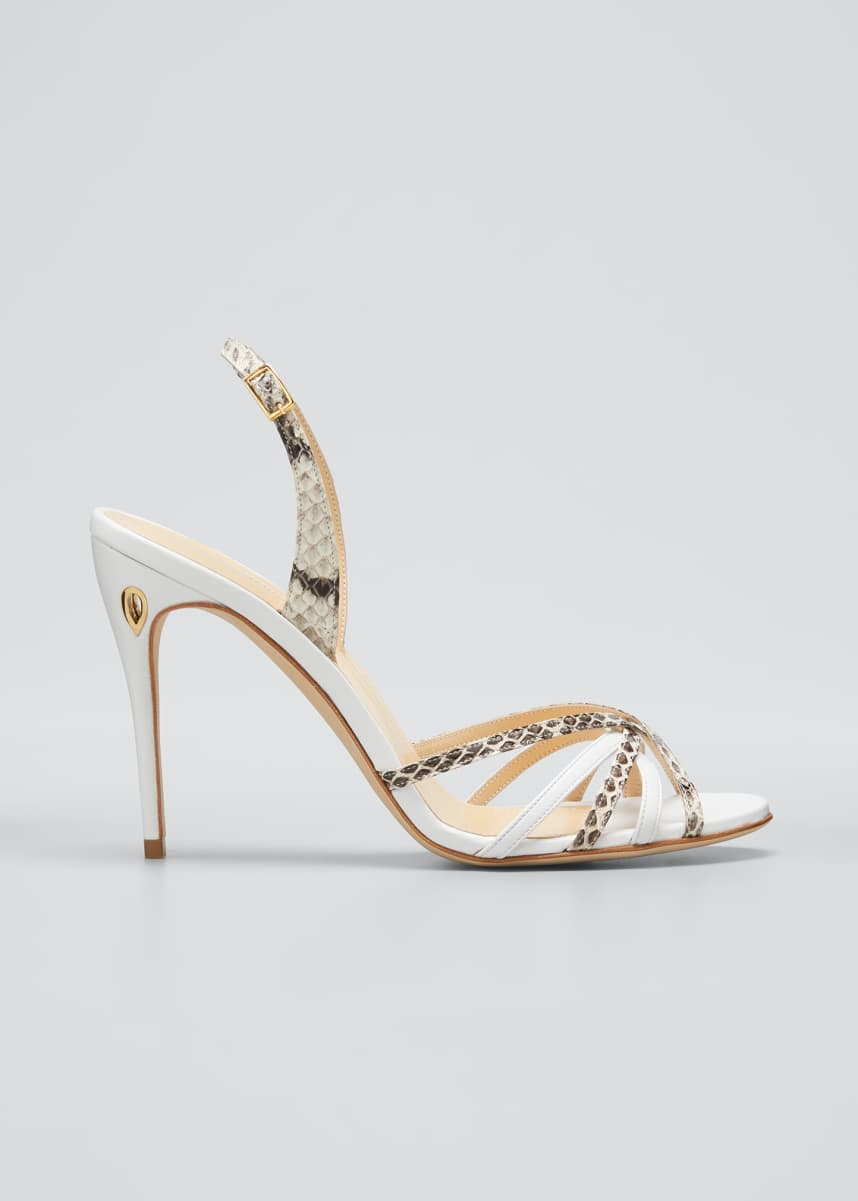 Jennifer Chamandi Colorblock Animal-Print Slingback Sandals