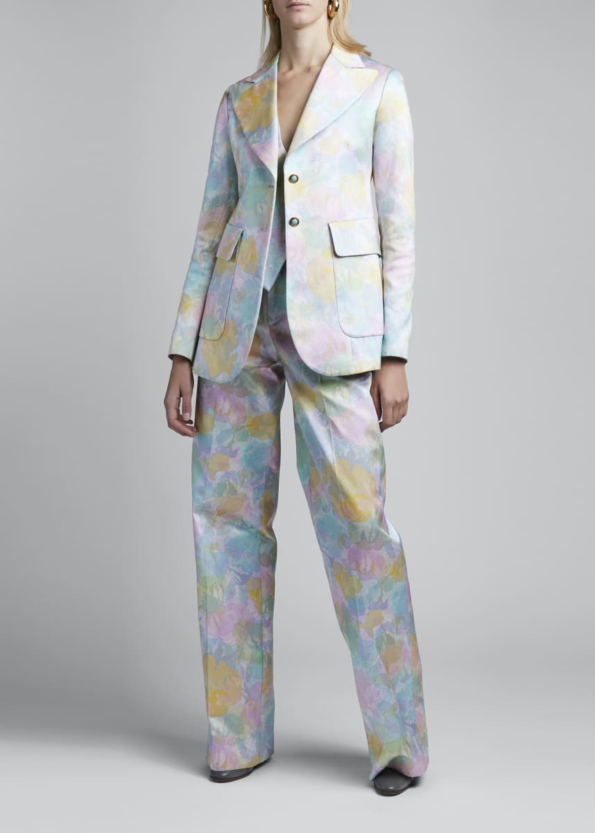 Marc Jacobs (Runway) Floral Brocade Long Slim Blazer
