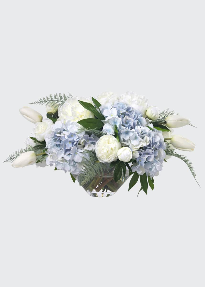 Diane James Faux Light Blue Hydrangea & Peonies in Glass Bowl