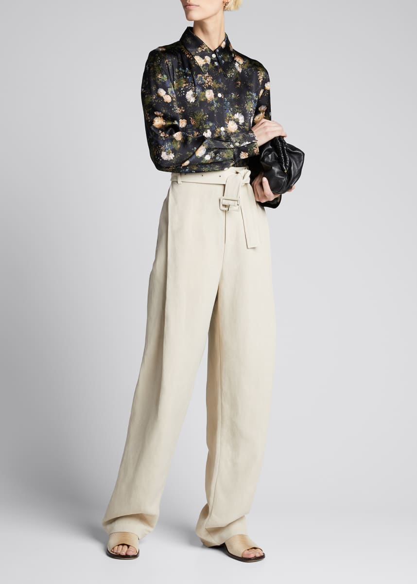 Vince Rose Field Shaped Collar Silk Blouse