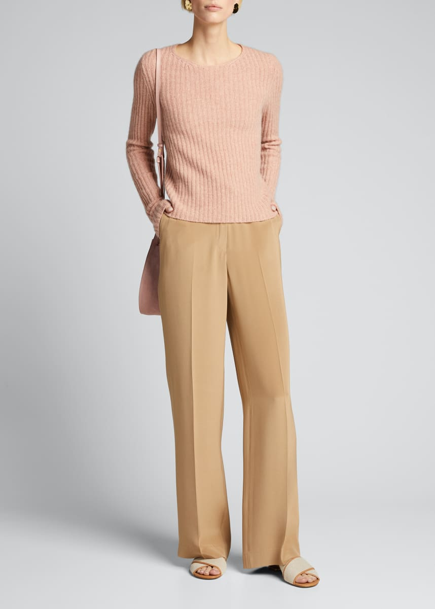 Vince Fitted Ribbed Wool/Cashmere Sweater