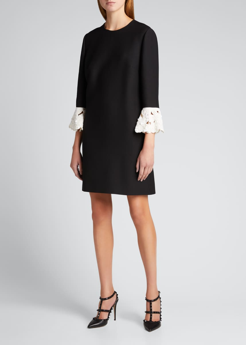Valentino Lace-Cuff Wool-Silk Shift Dress