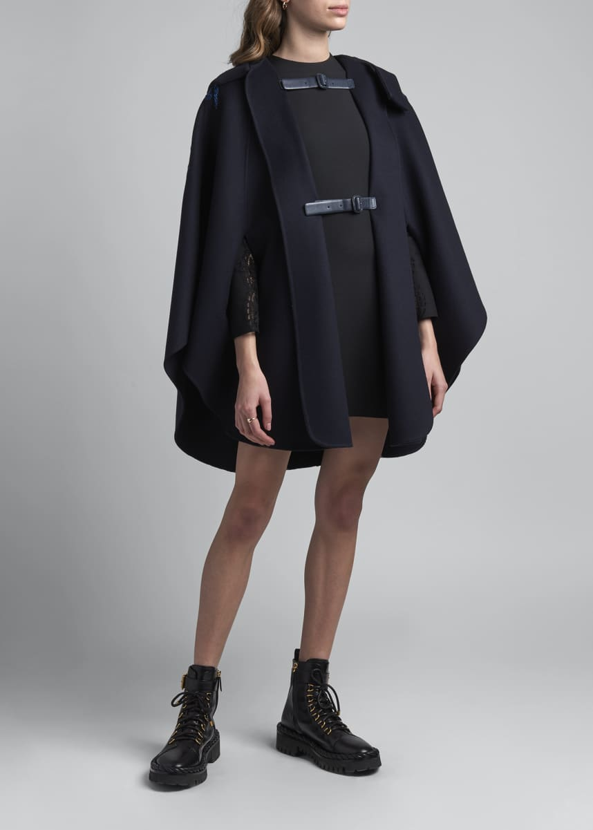 Valentino Leather Trim Wool-Cashmere Cape