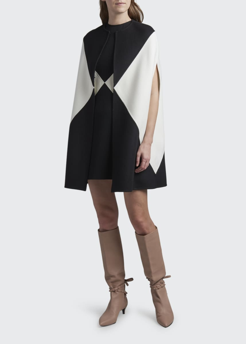 Valentino Colorblocked Wool-Cashmere Sleeveless Cape