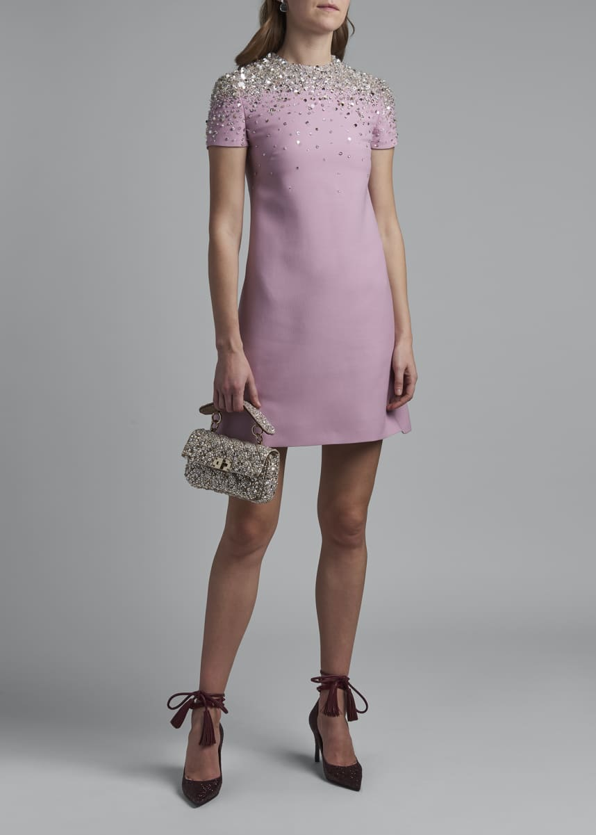 Valentino Short-Sleeve Embroidered-Neck Dress
