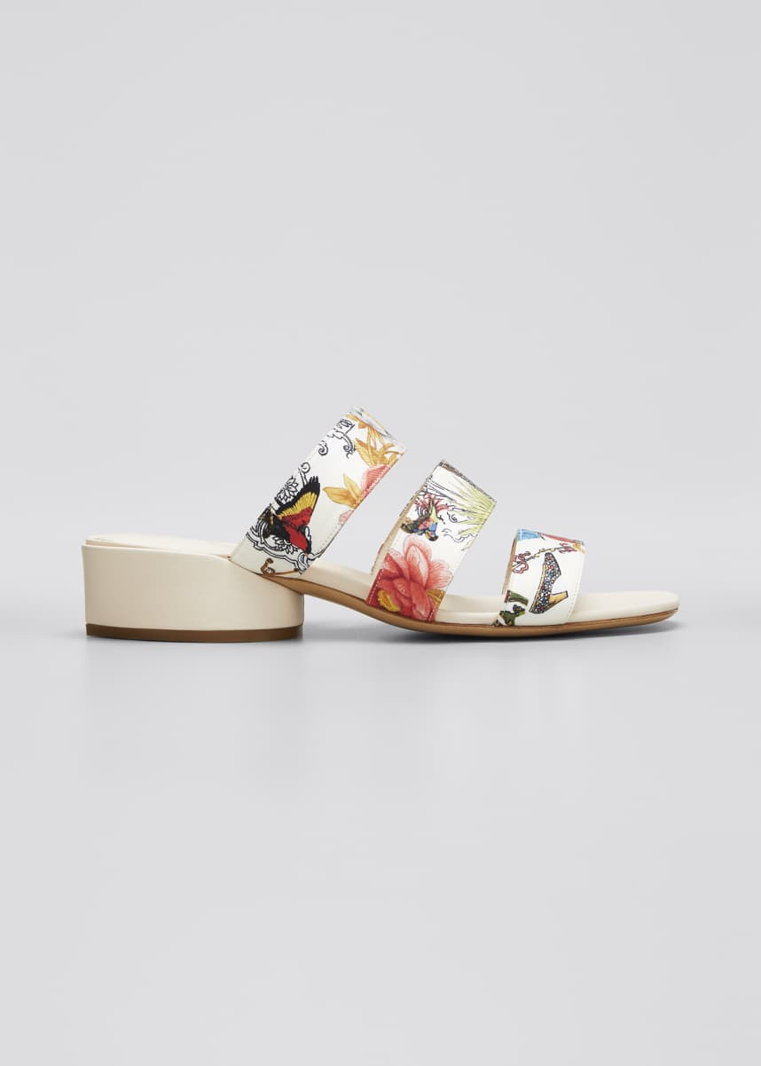 Salvatore Ferragamo Maya Printed Leather Slide Sandals - Silk Capsule Collection