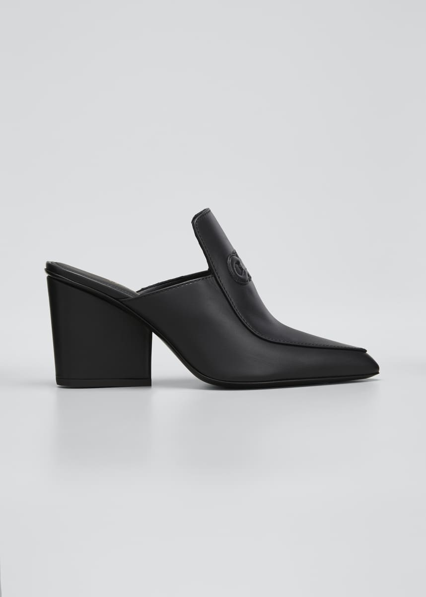 Salvatore Ferragamo Malfa Gancini Leather Block-Heel Mules