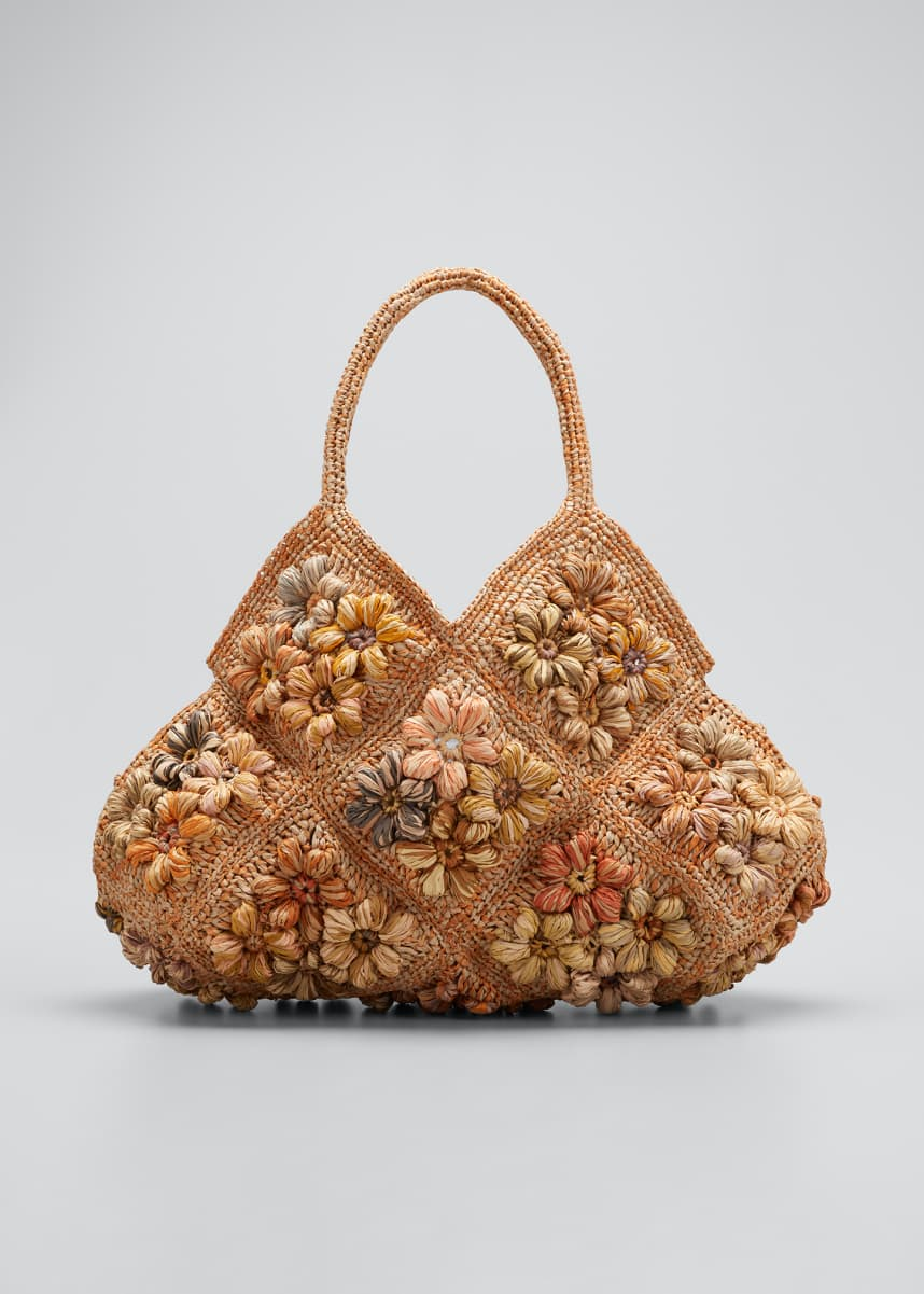 Sophie Digard Multicolored Floral Raffia Hobo Tote Bag