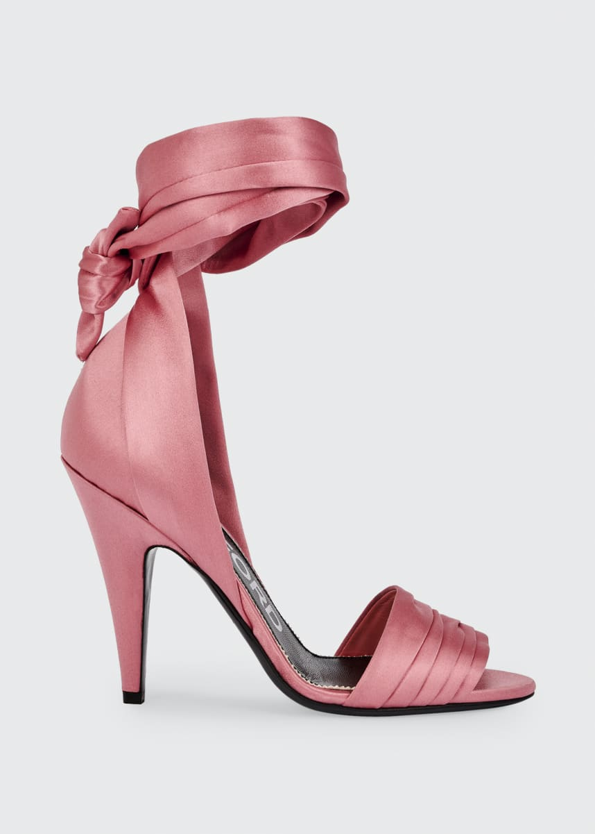 TOM FORD 105mm Satin Ankle-Wrap Sandals