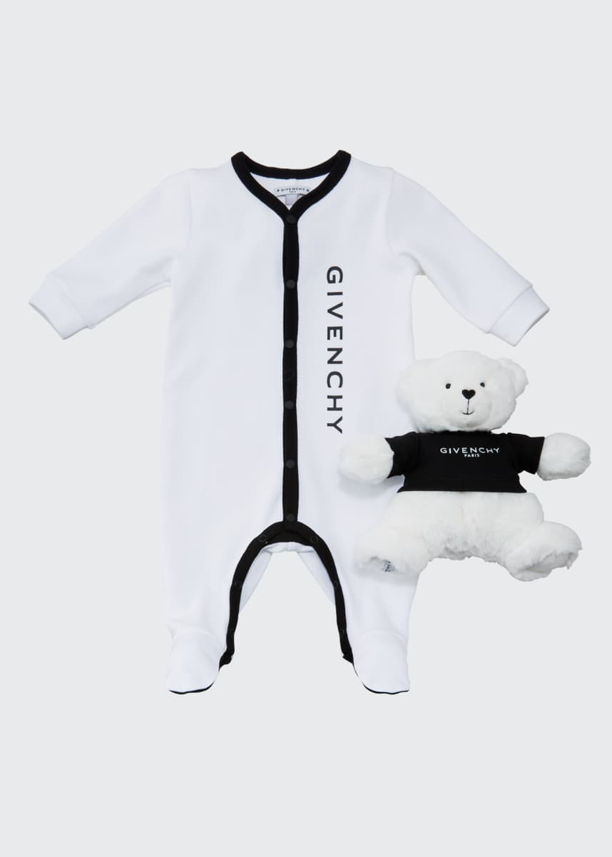 Givenchy Kid's Logo Footie Pajamas w/ Plush Bear, Size 1-9 Months