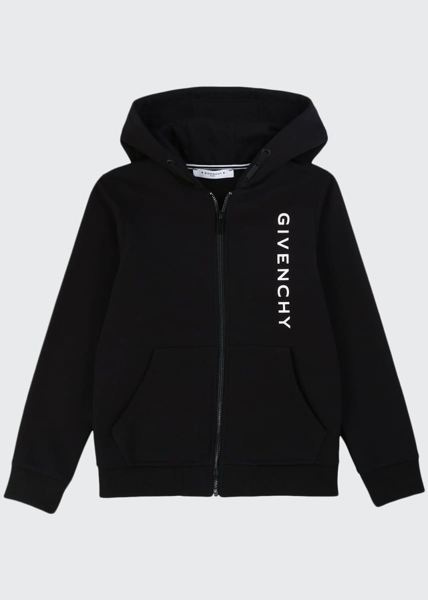 Givenchy Boy's Vertical Logo Mini Me Zip-Up Hooded Jacket, Size 6-10
