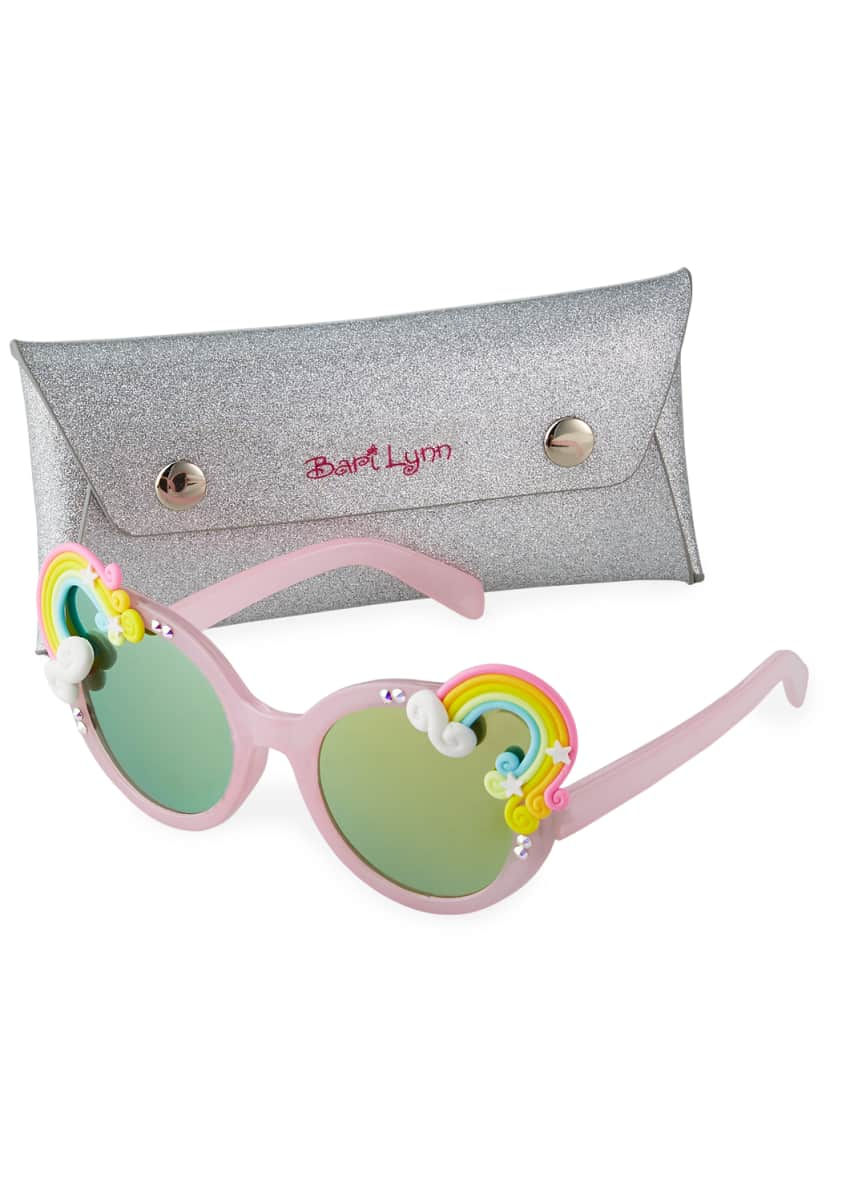 Bari Lynn Girl's Rainbow Cloud Round Sunglasses
