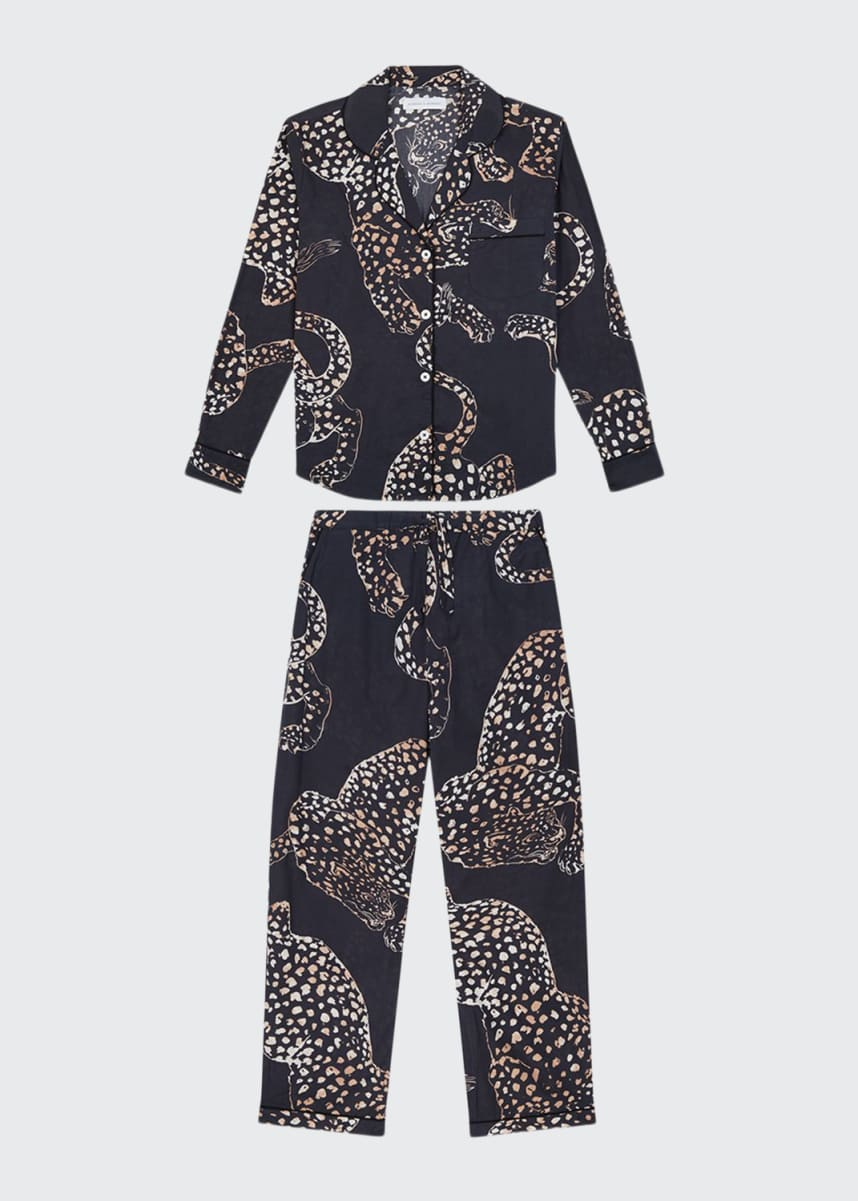 Desmond & Dempsey The Navy Jag Print Cotton Long Pajama Set