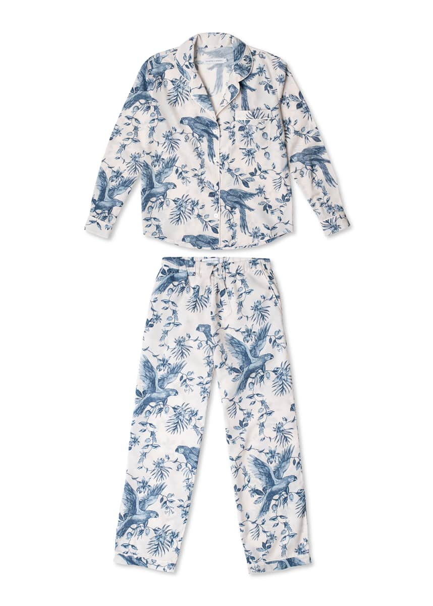 Desmond & Dempsey Parrot Printed Cotton Long Pajama Set