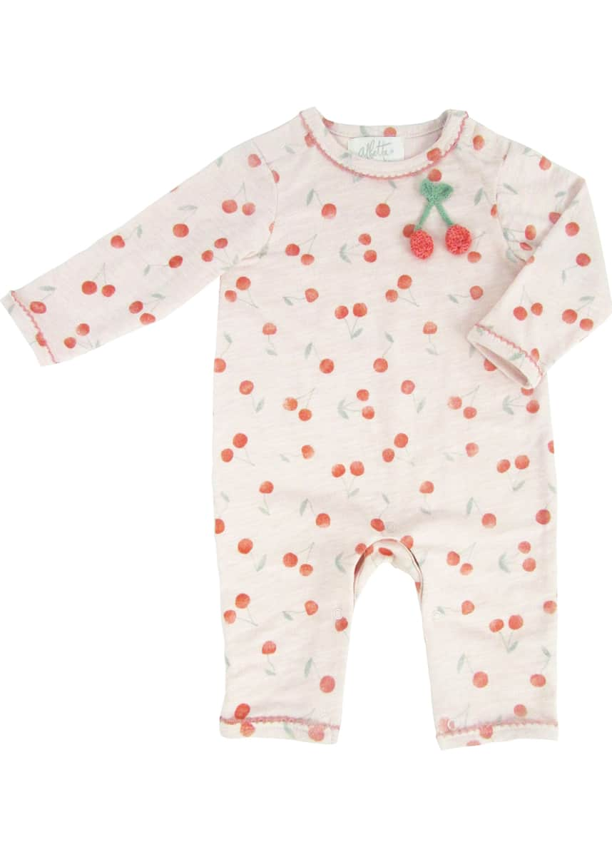 Albetta Crochet Cherry Printed Coverall, Size 0-12 Months