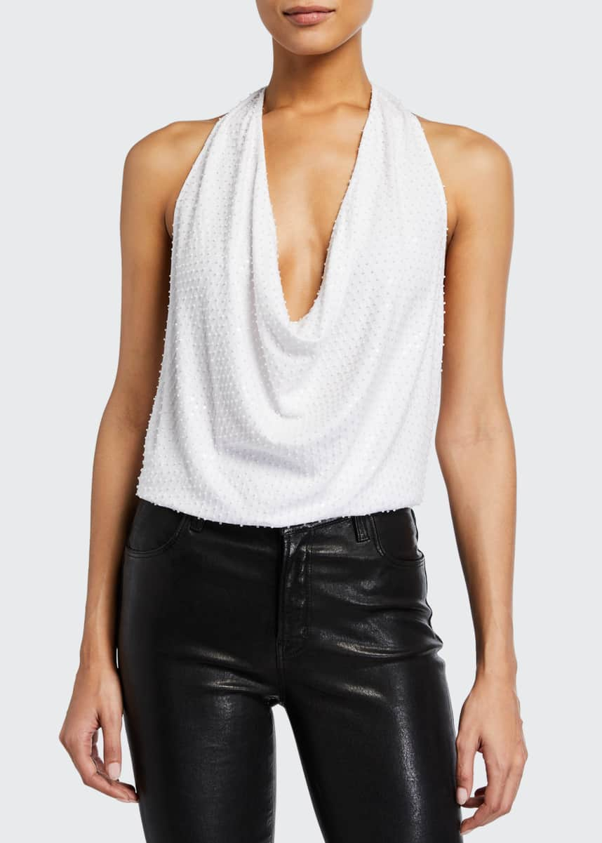 Ramy Brook Rochelle Draped-Neck Halter Top