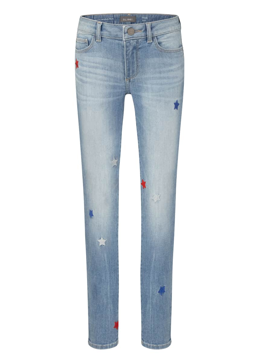 DL1961 Premium Denim Girl's Chloe Skinny Jeans with Stars, Size 7-16