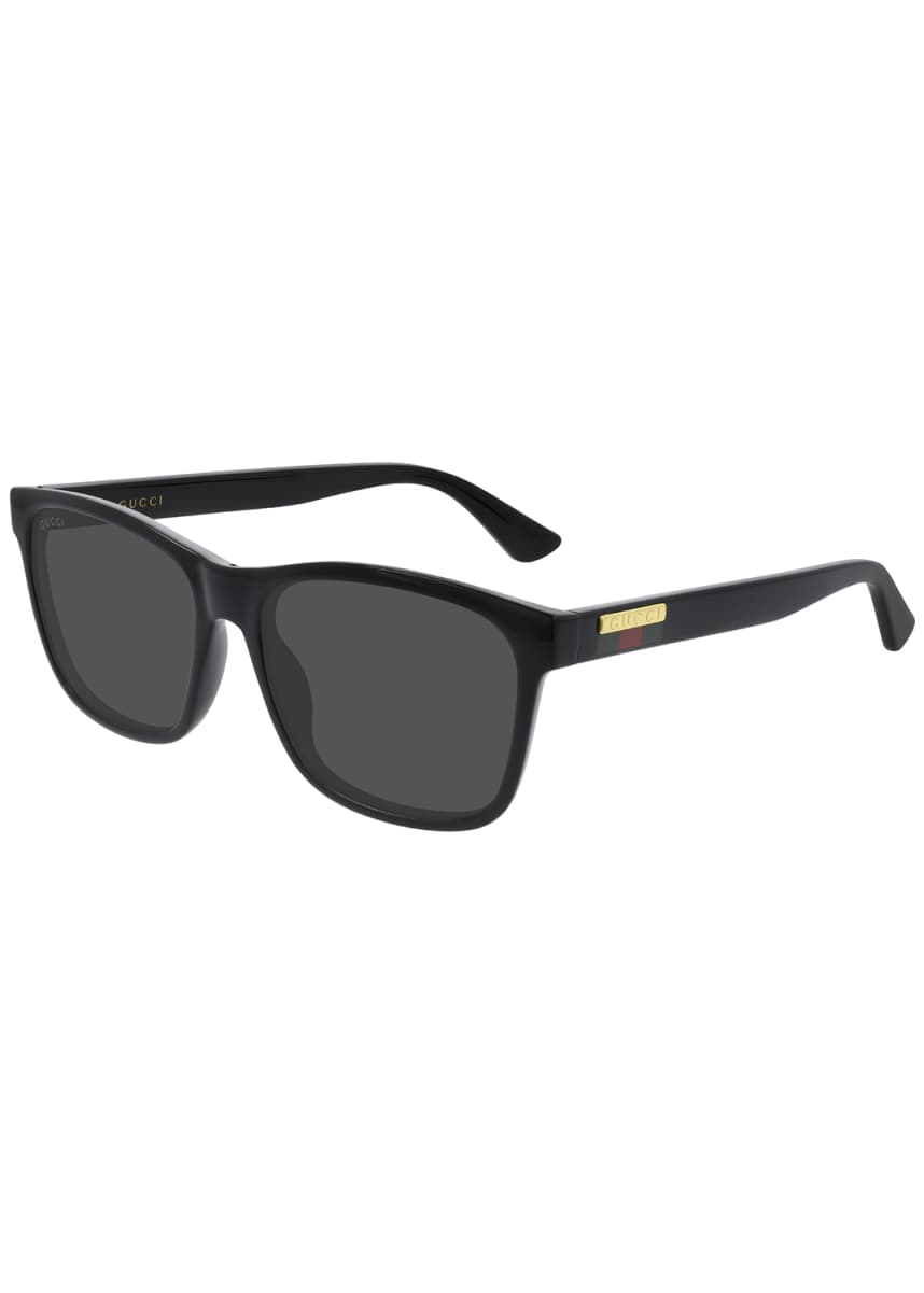 Gucci Men's Web Rectangle Injection Sunglasses