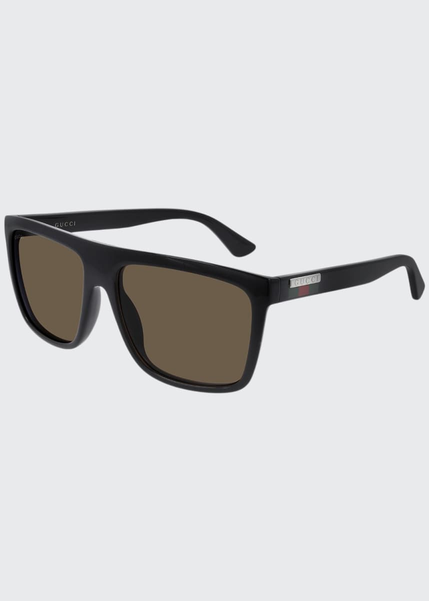 Gucci Men's Web Square Flat-Top Injection Sunglasses