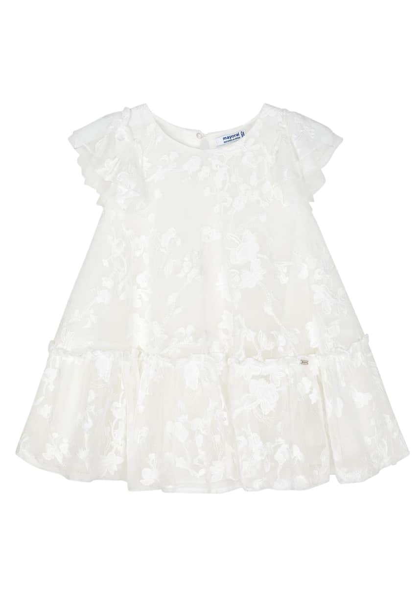 Mayoral Girl's Embroidered Floral Tulle Dress, Size 4-7