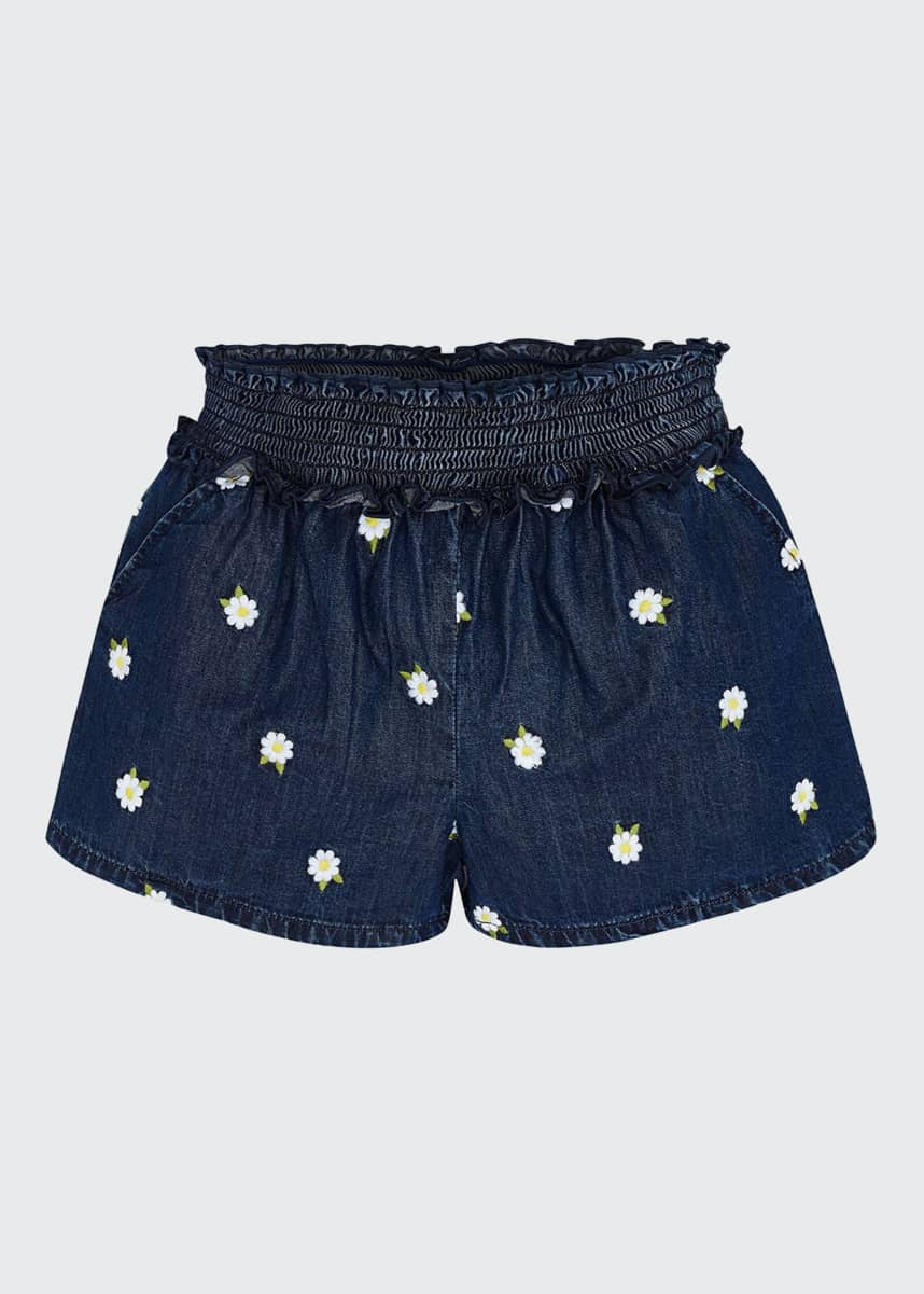 Mayoral Girl's Daisy Embroidered Denim Shorts, Size 4-7