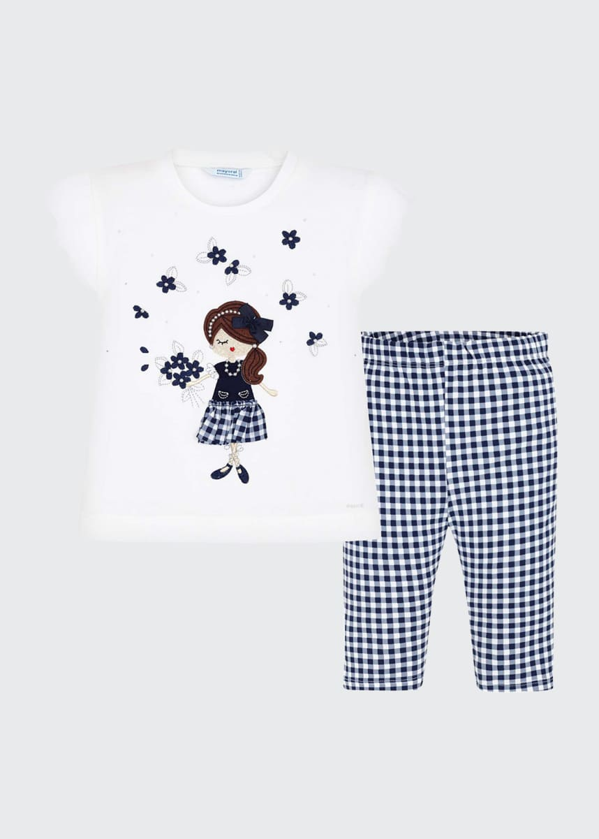 Mayoral Girl's Two-Piece Gingham Girl Top w/ Matching Leggings, Size 4-7